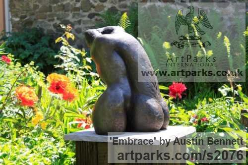 Bronze Nude or Naked Couples or Lovers sculpture by sculptor Austin Bennett titled: 'Embrace (Bronze nude Lovers Torsos garden sculptures)' - Artwork View 1