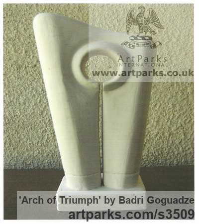 Marble Abstract Modern Contemporary Avant Garde sculpture statuettes figurines statuary both Indoor Or outside sculpture by sculptor Badri Goguadze titled: 'Arch of Triumph (Carved marble Indoor abstract sculpturette)'