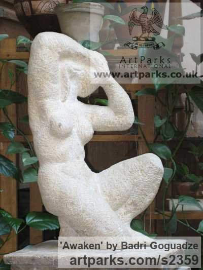 Stone Garden Or Yard / Outside and Outdoor sculpture by sculptor Badri Goguadze titled: 'Awaken (nude woman stretching stone statues)'