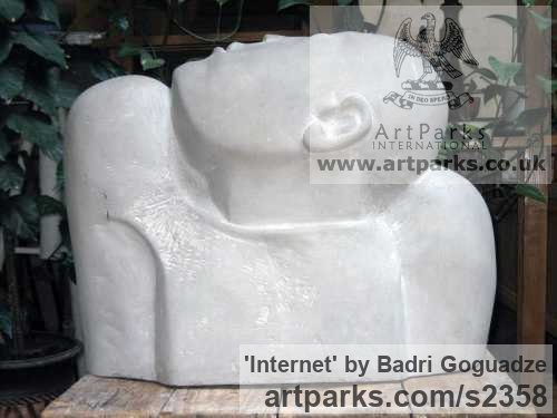 Eclari Stone Male Men Youths Masculine sculpturettes figurines sculpture by sculptor Badri Goguadze titled: 'Internet (Carved stone Man`s Bust or Head and Shoulders statue)'