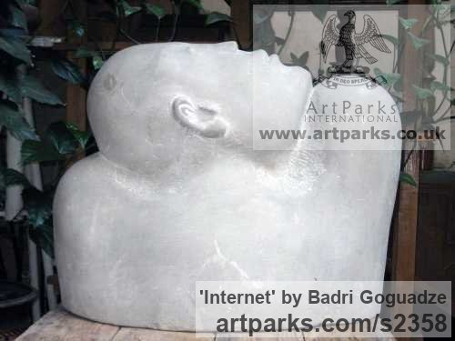 Eclari Stone Male Men Youths Masculine sculpturettes figurines sculpture by sculptor Badri Goguadze titled: 'Internet (Carved stone Man`s Bust or Head and Shoulders statue)' - Artwork View 2