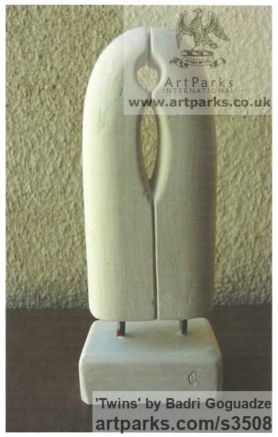 Marble Modern Abstract Contemporary Avant Garde Sculptures or Statues or statuettes or statuary sculpture by sculptor Badri Goguadze titled: 'Twins (Carved marble Small abstract Contemporary statuettes sculpture)'