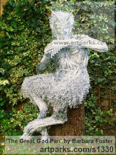 Steel wire Garden Or Yard / Outside and Outdoor sculpture by sculptor Barbara Foster titled: 'The Great God Pan (Outdoor garden Fawn statue)'