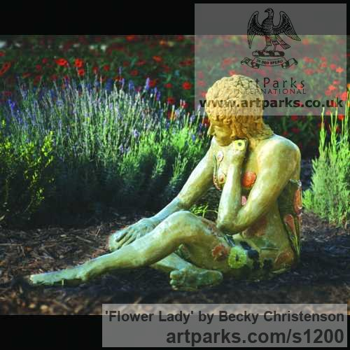 Clay Garden Or Yard / Outside and Outdoor sculpture by sculptor Becky Christenson titled: 'Flower Lady (ceramic nude Girl Clad in Flowers sculpture)' - Artwork View 1