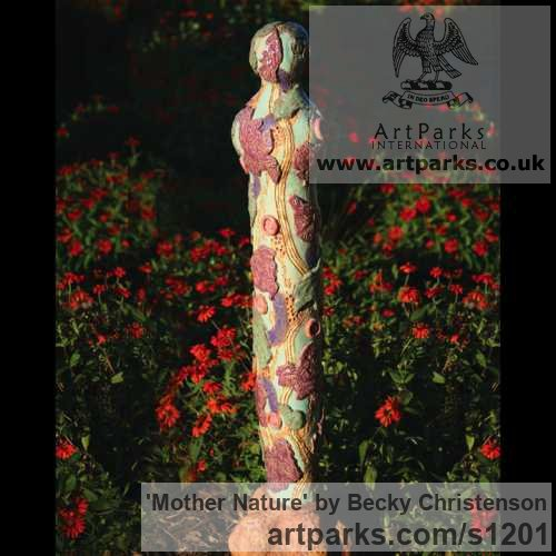 Clay Abstract Contemporary or Modern Outdoor Outside Exterior Garden / Yard sculpture statuary sculpture by sculptor Becky Christenson titled: 'Mother Nature (abstract Floral female sculpture)'