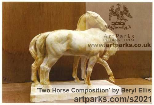 Plaster Horse Sculpture / Equines Race Horses Pack HorseCart Horses Plough Horsess sculpture by sculptor Beryl Ellis titled: 'Two Horse Composition (Plaster statuettes)'