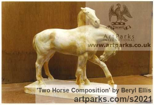 Plaster Horse Sculpture / Equines Race Horses Pack HorseCart Horses Plough Horsess sculpture by sculptor Beryl Ellis titled: 'Two Horse Composition (Plaster statuettes)' - Artwork View 2