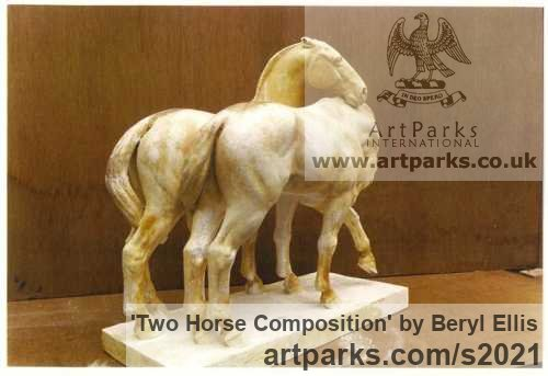Plaster Horse Sculpture / Equines Race Horses Pack HorseCart Horses Plough Horsess sculpture by sculptor Beryl Ellis titled: 'Two Horse Composition (Plaster statuettes)' - Artwork View 3