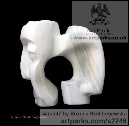 Marble Calacatta of Carrara Carved Abstract Contemporary Modern sculpture carving sculpture by sculptor Bozena Krol Legowska titled: 'Amanti (Lovers) Little Carved abstract marble Faces statuettes'