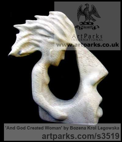 Travertino Abstract Contemporary Modern Outdoor Outside Garden / Yard sculpture statuary sculpture by sculptor Bozena Krol Legowska titled: 'And God Created Woman (Carved marble Modern Contemporary Bust/Faces)'