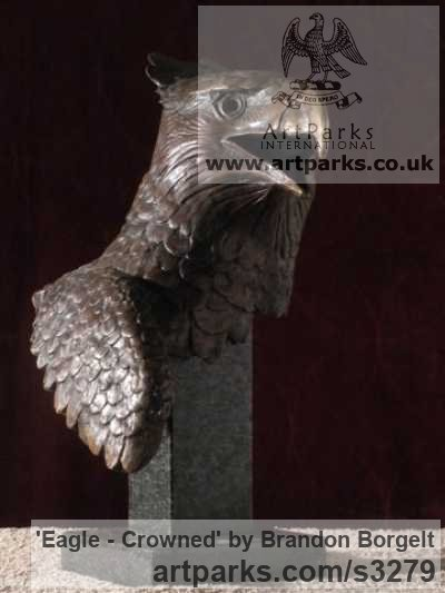 Bronze Varietal Mix of Bird Sculptures or sculpture by sculptor Brandon Borgelt titled: 'Eagle - Crowned (bronze Small/Little African Bust statuette/statue)'