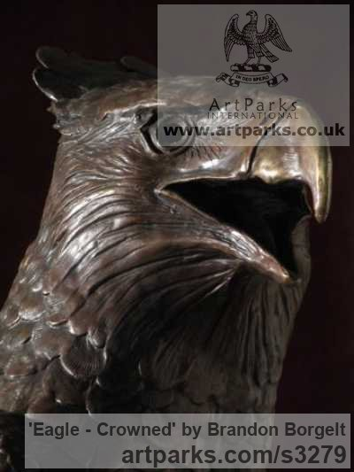 Bronze Varietal Mix of Bird Sculptures or sculpture by sculptor Brandon Borgelt titled: 'Eagle - Crowned (bronze Small/Little African Bust statuette/statue)' - Artwork View 2