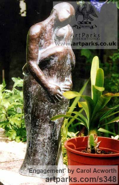 Garden Or Yard / Outside and Outdoor sculpture by sculptor Carol Acworth titled: 'Engagement (Young Lovers Embracing or Hugging Yard garden sculptures)'