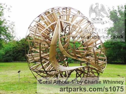 Wood - Green Oak & Ash Garden Or Yard / Outside and Outdoor sculpture by sculptor Charlie Whinney titled: 'Coral Arbour 1 (Large/abstract Wood Laminate garden statue)'