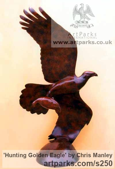 Bronze Garden Or Yard / Outside and Outdoor sculpture by sculptor Chris Manley titled: 'Hunting Golden Eagle (Flying Bronze sculptures)' - Artwork View 4