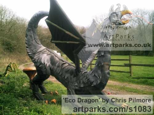 Recycled Materials Garden Or Yard / Outside and Outdoor sculpture by sculptor Chris Pilmore titled: 'Eco Dragon (Giant Large Recycled Found Objects Mythical sculptures)'