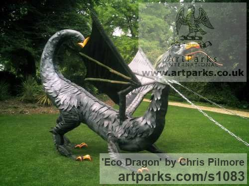 Recycled Materials Garden Or Yard / Outside and Outdoor sculpture by sculptor Chris Pilmore titled: 'Eco Dragon (Giant Large Recycled Found Objects Mythical sculptures)' - Artwork View 4