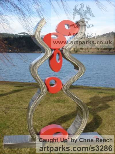 Stainless Steel / mild steel Garden Or Yard / Outside and Outdoor sculpture by sculptor Chris Rench titled: 'Caught Up (stainless Steel Modern abstract Coloured Yard/garden statue)' - Artwork View 1