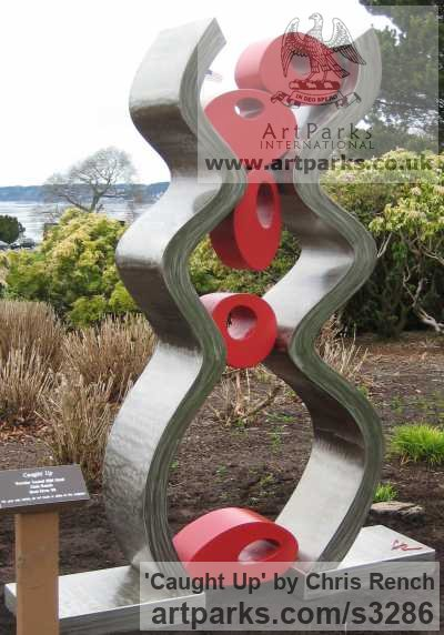 Stainless Steel / mild steel Garden Or Yard / Outside and Outdoor sculpture by sculptor Chris Rench titled: 'Caught Up (stainless Steel Modern abstract Coloured Yard/garden statue)' - Artwork View 3