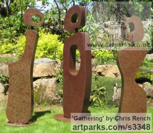 Mild steel Abstract Contemporary or Modern Outdoor Outside Exterior Garden / Yard sculpture statuary sculpture by sculptor Chris Rench titled: 'Gathering (Modern abstract Minimalist figurative Steel sculptures)'