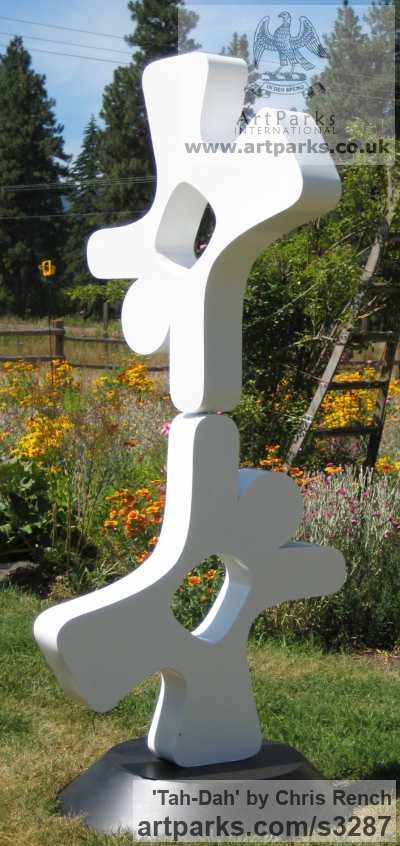 Mild Steel Garden Or Yard / Outside and Outdoor sculpture by sculptor Chris Rench titled: 'Tah-Dah (Conteporary Modern Happeness Tumblers sculpture)' - Artwork View 2