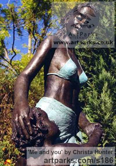 Bronze resin Garden Or Yard / Outside and Outdoor sculpture by sculptor Christa Hunter titled: 'Me and you (Mother @ Child garden/Yard sculpture)' - Artwork View 2