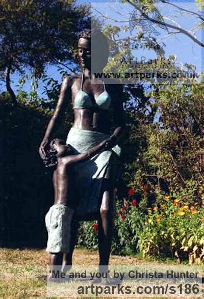 Bronze resin Garden Or Yard / Outside and Outdoor sculpture by sculptor Christa Hunter titled: 'Me and you (Mother @ Child garden/Yard sculpture)' - Artwork View 4