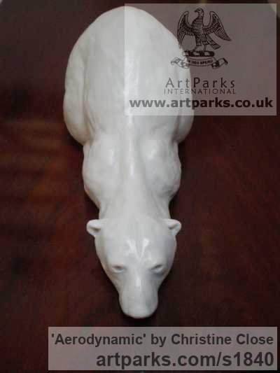 Marble/resin Wild Animals and Wild Life sculpture by sculptor Christine Close titled: 'AERODYNAMIC (Polar Bear White marble resin statues)'