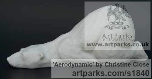 Marble/resin Wild Animals and Wild Life sculpture by sculptor Christine Close titled: 'AERODYNAMIC (Polar Bear White marble resin statues)' - Artwork View 3