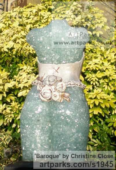 Recycled windscreen glass/ resin Females Women Girls Ladies sculpture statuettes figurines sculpture by sculptor Christine Close titled: 'Baroque (Recycled Glass female Torso in Corset life size garden statue)'