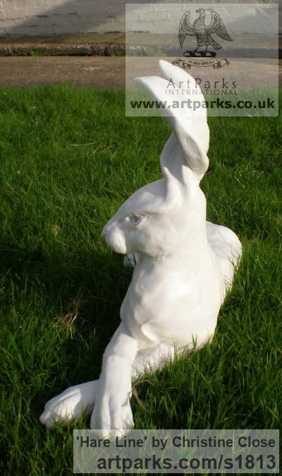 Cast marble resin Garden Or Yard / Outside and Outdoor sculpture by artist Christine Close titled: 'Hare Line (marble resin Hare Lying Alert sculptures)' - Artwork View 4