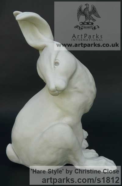Cast marble resin Garden Or Yard / Outside and Outdoor sculpture by sculptor Christine Close titled: 'Hare Style (White Sitting Fun Mad March Hare garden statues)' - Artwork View 2