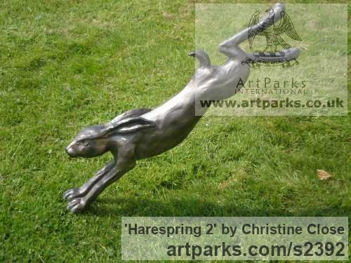 Resin Garden Or Yard / Outside and Outdoor sculpture by sculptor Christine Close titled: 'Harespring 2 (Mad March Hare Leaping Cavorting Jumping statues)'