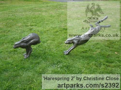 Resin Garden Or Yard / Outside and Outdoor sculpture by sculptor Christine Close titled: 'Harespring 2 (Mad March Hare Leaping Cavorting Jumping statues)' - Artwork View 4