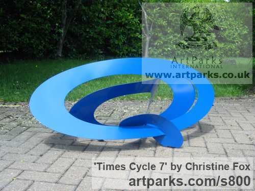 Powder coated steel Garden Or Yard / Outside and Outdoor sculpture by sculptor Christine Fox titled: 'Times Cycle 7 (Coloured stainless steel abstract Modern garden statues)'