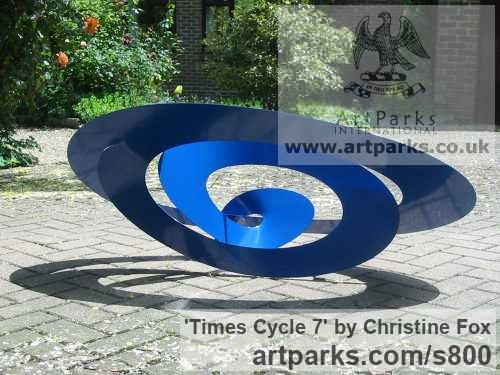 Powder coated steel Garden Or Yard / Outside and Outdoor sculpture by sculptor Christine Fox titled: 'Times Cycle 7 (Coloured stainless steel abstract Modern garden statues)' - Artwork View 4