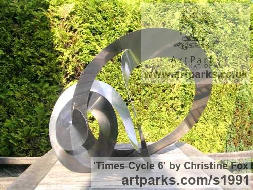 Stainless steel Garden Or Yard / Outside and Outdoor sculpture by sculptor Christine Fox titled: 'Times Cycle 6 (Partially Circular stainless Steel abstract garden statue)'