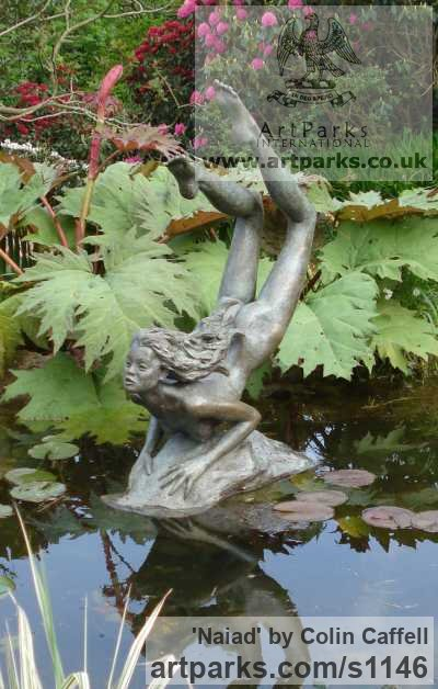 Bronze Garden Or Yard / Outside and Outdoor sculpture by sculptor Colin Caffell titled: 'Naiad (bronze Metal Water nude Nymph Virgin garden Pond statue)' - Artwork View 1
