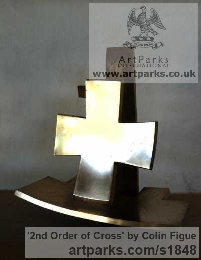 Bronze Abstract Contemporary Modern Outdoor Outside Garden / Yard sculpture statuary sculpture by sculptor Colin Figue titled: '2nd Order of Cross (Small Contemporary Indoor statue)'