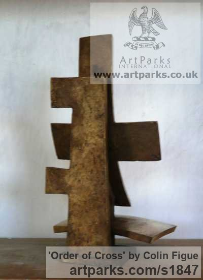 Bronze Christian Sculpture and sculpture by sculptor Colin Figue titled: 'Order of Cross (Contemporary Modern Indoor Cross statue)' - Artwork View 2