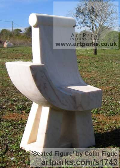Portuguese marble Abstract Contemporary Modern Outdoor Outside Garden / Yard sculpture statuary sculpture by sculptor Colin Figue titled: 'Seated figure (Contemporary Stone Throne Carving statue)'