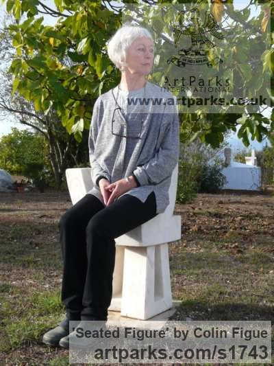 Portuguese marble Abstract Contemporary Modern Outdoor Outside Garden / Yard sculpture statuary sculpture by sculptor Colin Figue titled: 'Seated figure (Contemporary Stone Throne Carving statue)' - Artwork View 3