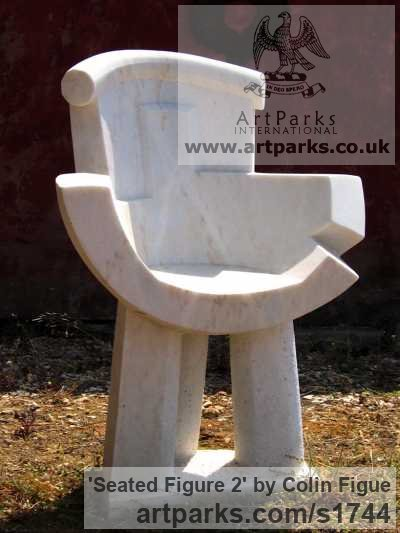 Portuguese marble Abstract Contemporary or Modern Outdoor Outside Exterior Garden / Yard sculpture statuary sculpture by sculptor Colin Figue titled: 'Seated figure 2 (Contemporary Stone Yard Chair statue)'