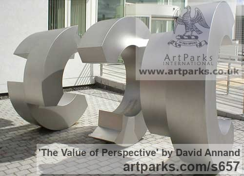 Bronze Garden Or Yard / Outside and Outdoor sculpture by sculptor David Annand titled: 'The Value of Perspective (Bronze Large abstract Tubelar statue)' - Artwork View 2