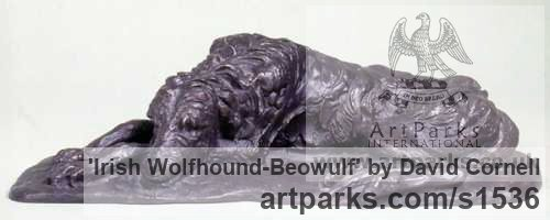 BRONZE Dogs sculpture by sculptor David Cornell titled: 'IRISH WOLFHOUND-BEOWULF'