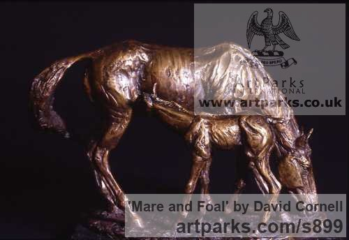Bronze Horse Sculpture / Equines Race Horses Pack HorseCart Horses Plough Horsess sculpture by artist David Cornell titled: 'Mare and Foal'