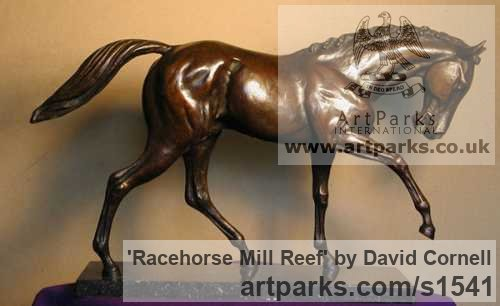 BRONZE Horse Sculpture / Equines Race Horses Pack HorseCart Horses Plough Horsess sculpture by sculptor David Cornell titled: 'RACEHORSE MILL REEF (Small Bronze Figurine/statuette/statue)'