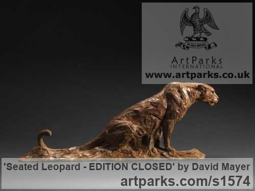 Bronze Cats Wild and Big Cats sculpture by sculptor David Mayer titled: 'Seated Leopard (Bronze Little Big Cat sculpture)' - Artwork View 2