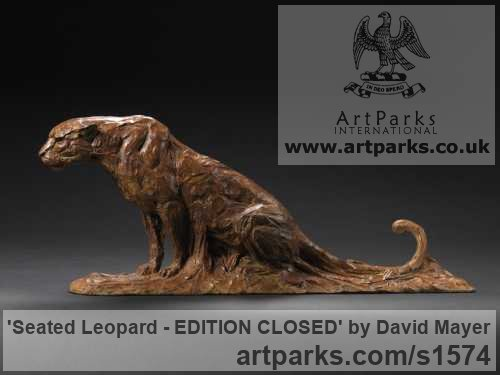 Bronze Cats Wild and Big Cats sculpture by sculptor David Mayer titled: 'Seated Leopard (Bronze Little Big Cat sculpture)' - Artwork View 3