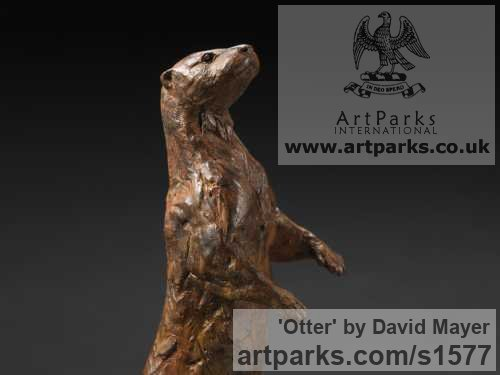 Bronze Wild Animals and Wild Life sculpture by sculptor David Mayer titled: 'Otter (Little Standing Bronze sculptures/statuettes)'